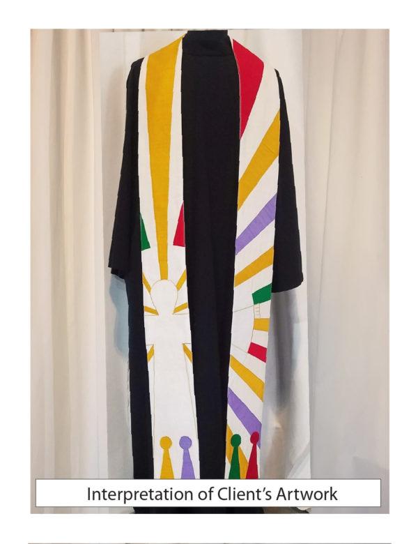 An interpretation of a client's artwork expressed on a stole.
