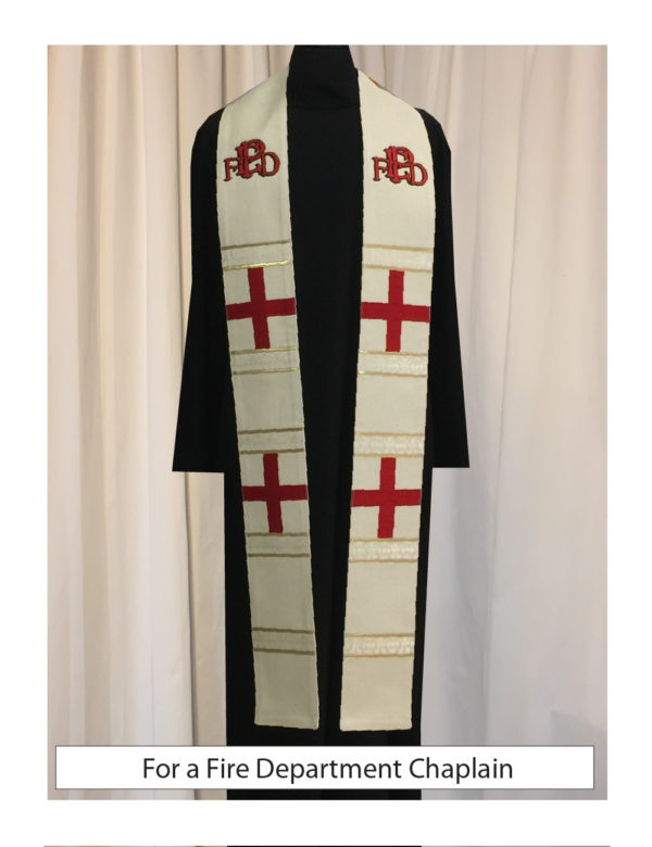The logo of an Illinois fire department incorporated into a stole for the fire chaplain.