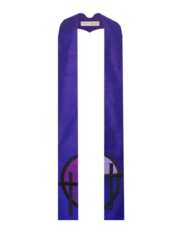 The logo of an Episcopal church in Peoria rendered in various shades of purple silk accented with black cotton.