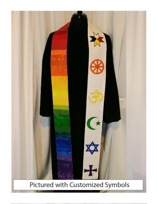 A Mi'kmaq, an orange Native American medicine wheel, yellow Om, green Muslim crescent and star, a blue Star of David and a purple Greek cross make a rainbow statement of solidarity and ecumenism.