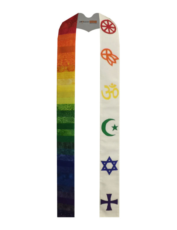 A red Buddhist wheel, an orange Native American medicine wheel, yellow Om, green Muslim crescent and star, a blue Star of David and a purple Greek cross make a rainbow statement of solidarity and ecumenism.