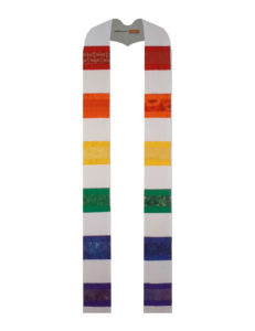 The rainbow stole with horizontal strips of cotton and silk dupioni in red, orange, yellow, green, blue and purple on a white silk dupioni background.