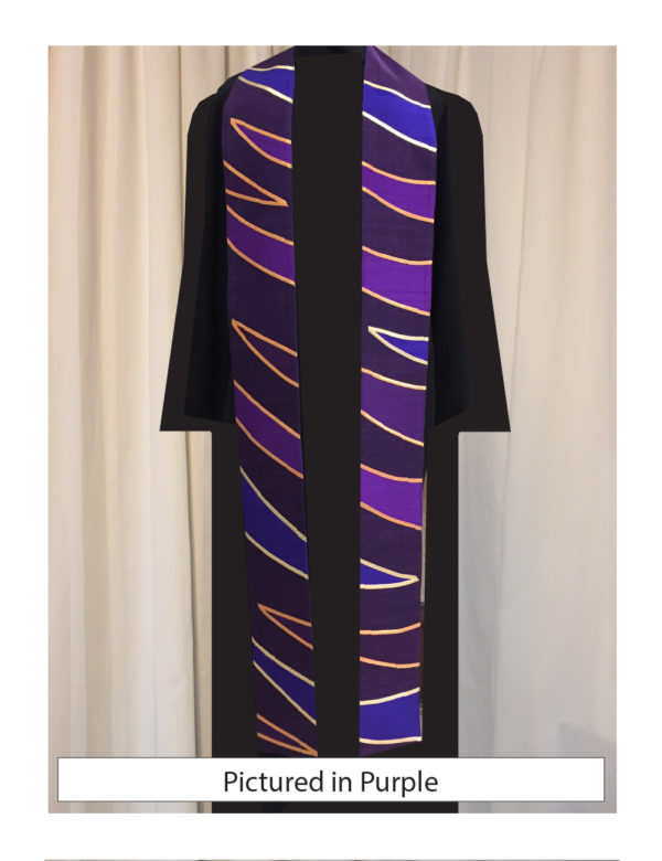 Tiger stripes in shades of purple silk dupioni outlined in lame' trim on a purple silk matka background