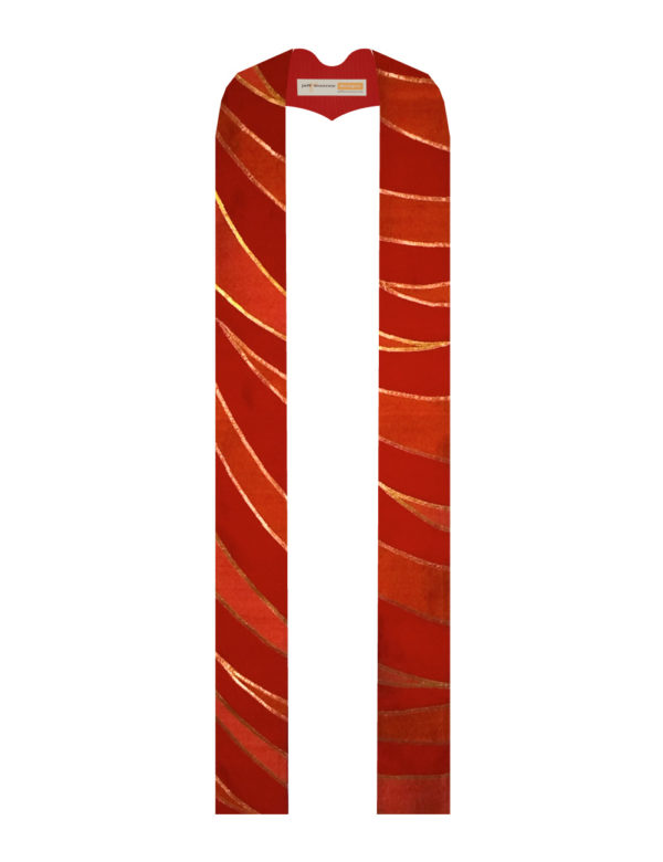 Tiger stripes in red and orange shades of silk dupioni outlined in copper lame' trim on a red silk matka background
