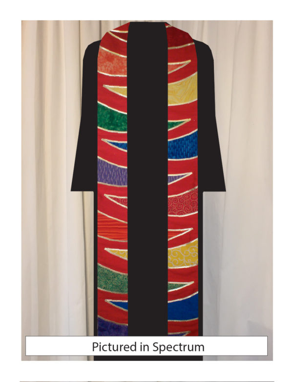 Tiger stripes in multi colors of silk dupioni outlined in lame' trim on a red silk matka background
