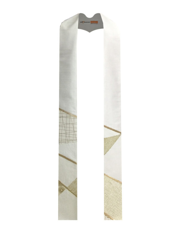 Bold geometric lines, cotton prints and gold lame' create this bold stole.