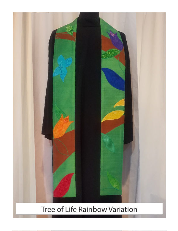 Abstracted branches, leaves, birds and butterflies in liturgical colors against a green background create our Tree of Life stole.