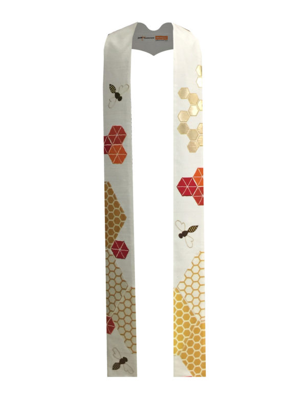 Honeybees, flowers, and honeycomb adorn this stole.