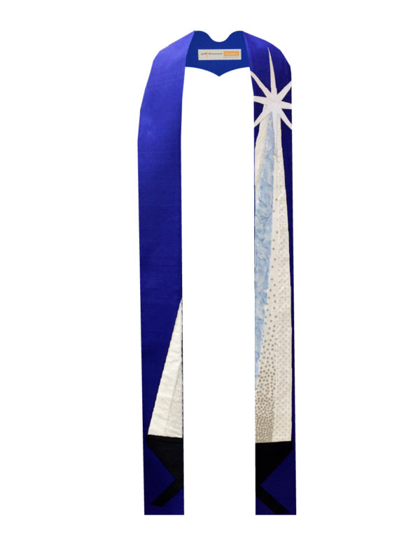 This Advent Stole shows the silver star of Bethlehem shining down on a manger against a blue background of silk matka.