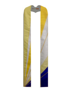 The colors of a sunrise emerge from the lower left corner of this Radiant stole which makes it perfect for Easter celebrations.