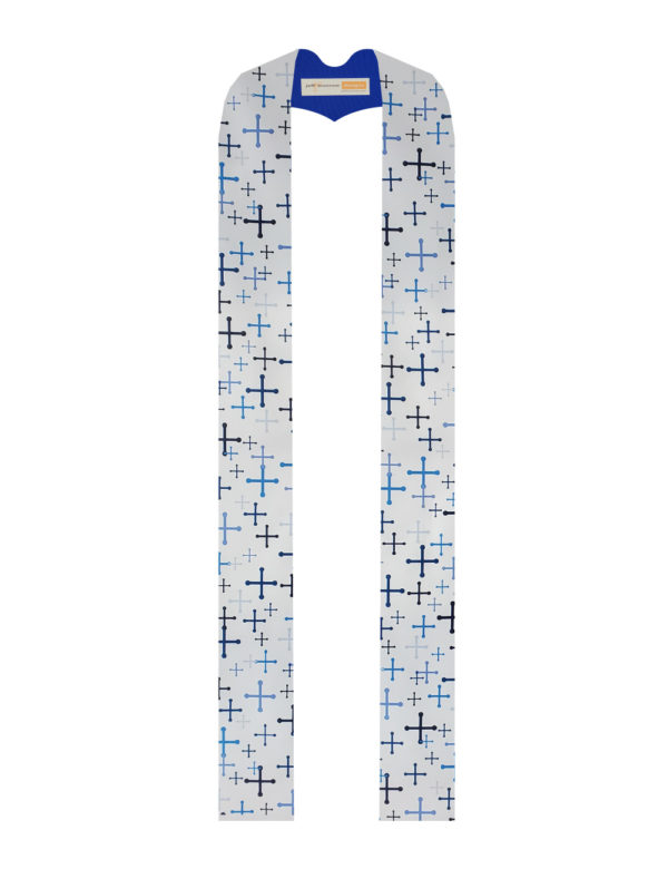 Our original textile features St. Michael's crosses in a variety of sizes and five shades of blue