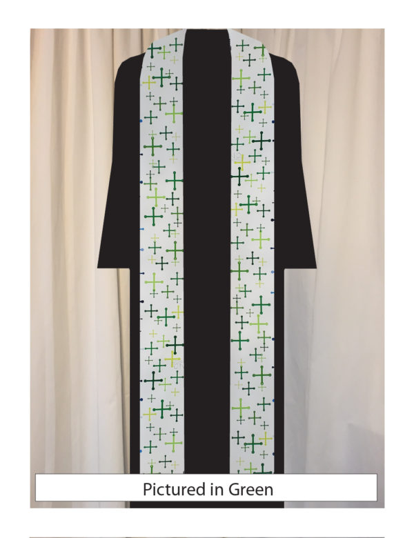 Our original textile features St. Michael's crosses in a variety of sizes and five shades of green