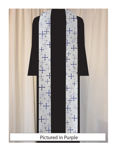 Our original textile features St. Michael's crosses in a variety of sizes and five shades of purple