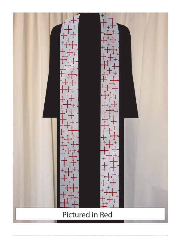 Our original textile features St. Michael's crosses in a variety of sizes and five shades of red