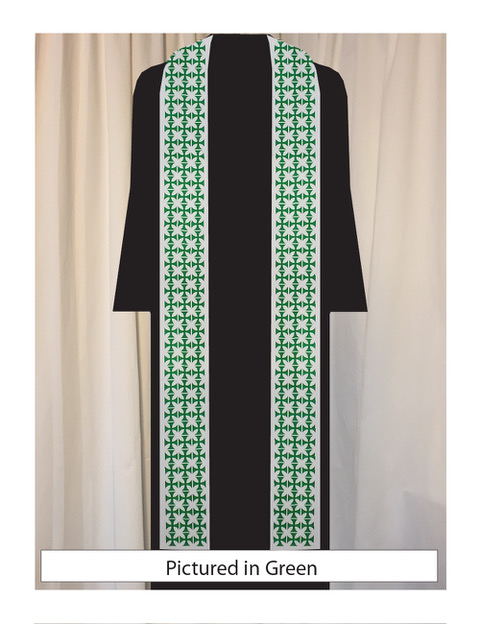 Green Patee crosses in a repeat create a unique pattern.