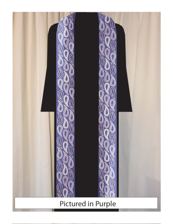 Stylized paisley pattern in five shades of purple