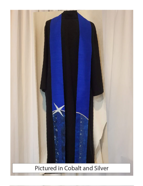 A swoosh of silver or gold lame' separates a field of pieces blue cottons from a background of blue silk dupioni.