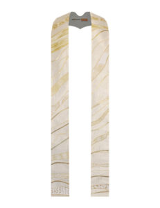 White Marbled stole with white and gold cotton prints against a cream background accented with hints of gold lame'.