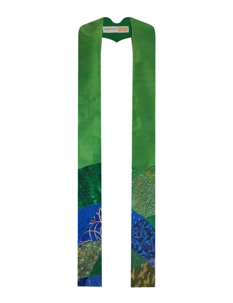 Stained glass stole with green and blue arches on a green silk base.